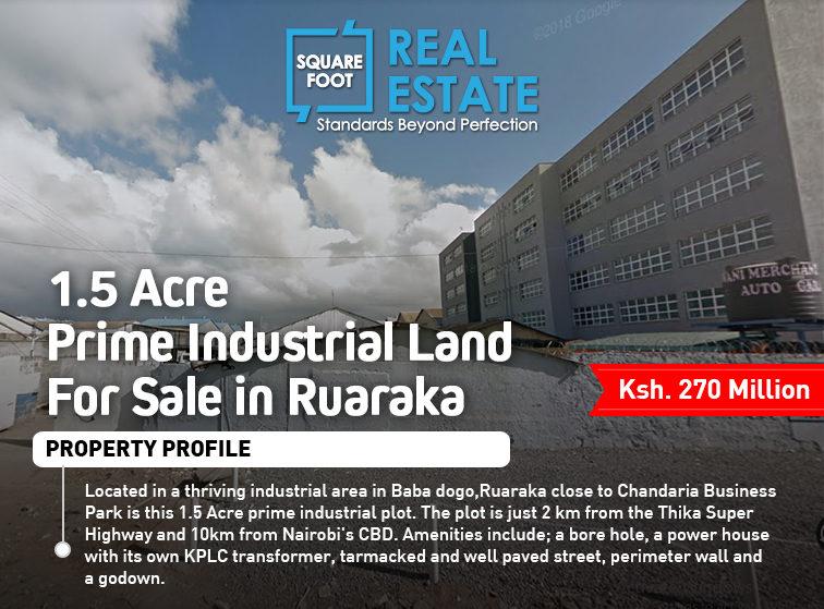 1.5 Acre Prime Industrial Land For Sale in Ruaraka